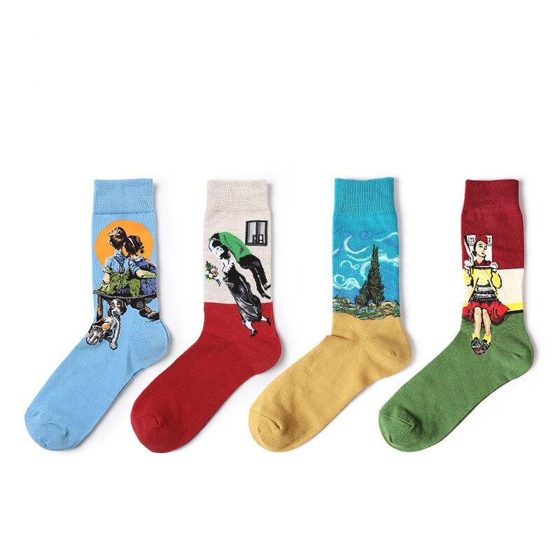 2018 New Men Women Cotton Socks Vintage Oil Paiting Socks Art Funny Socks For Couples