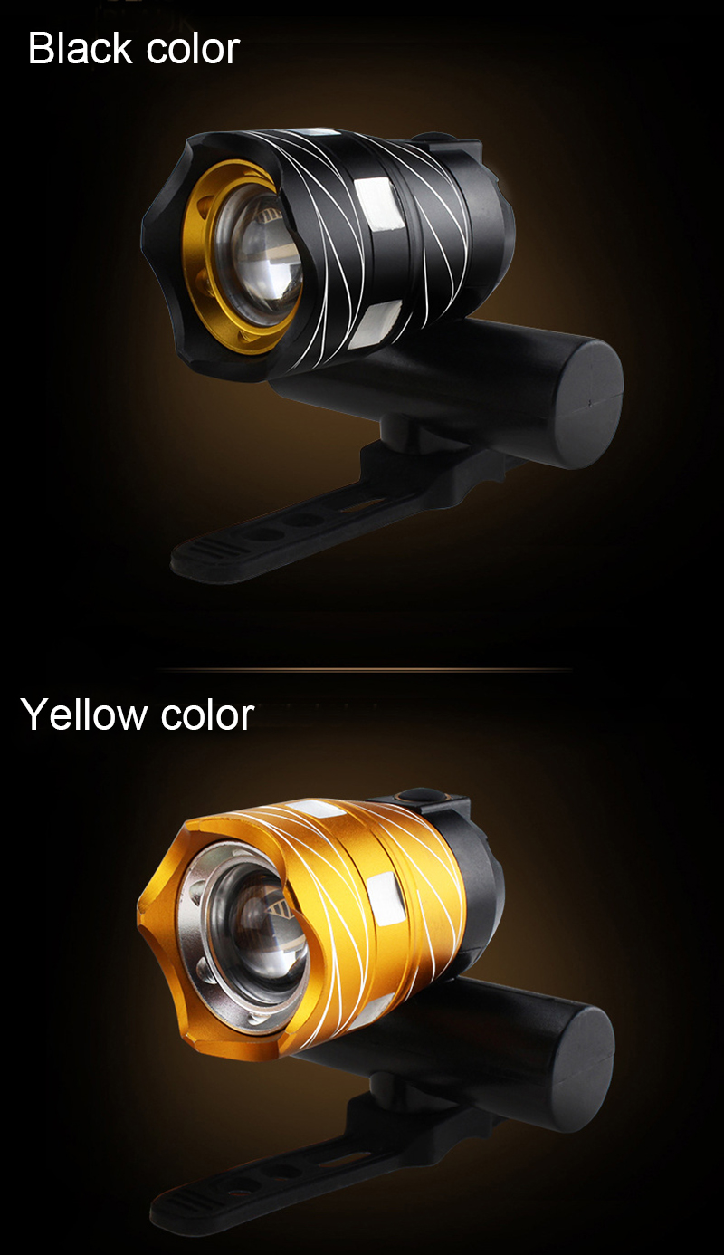 Light Bike Front Lamp Outdoor Zoomable, Torch Headlight USB Rechargeable Built-in Battery 15000LM 18