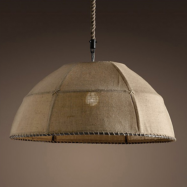ФОТО Free shipping Dome Pendant Light linen lampshade country style khaki cloth material dining room restaurant bedroom lighting