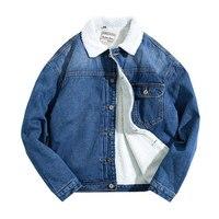 Winter Men S Fashion Embroidery Cotton Padded Jacket Men Plus Velvet Denim Jacket Men Thickening Denim