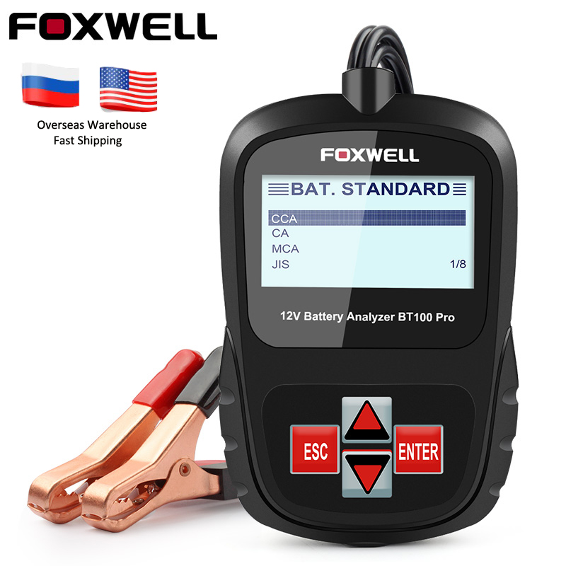FOXWELL BT100 PRO 12V Car Battery Tester For Flooded AGM GEL 100 to 1100CCA 200AH