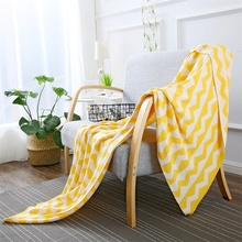LYN&GY Winter Knitted Blankets Blue Dark Yellow Gray Throws Blanket Decorative Bedroom Plaid on the Bed Cobertor Sofa Bed Cover