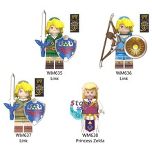 Single Building Blocks Cartoon Link Game Shield Sword Archer Sonic toys for children(China)