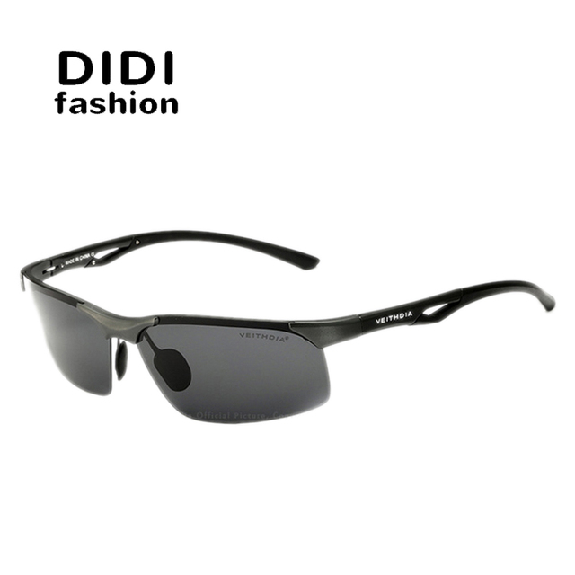 a5f36d365f DIDI Top Grade Military Aluminium Polarized Sunglasses Men Aviator Semi- Rimless Driving Glasses Male Eyewear