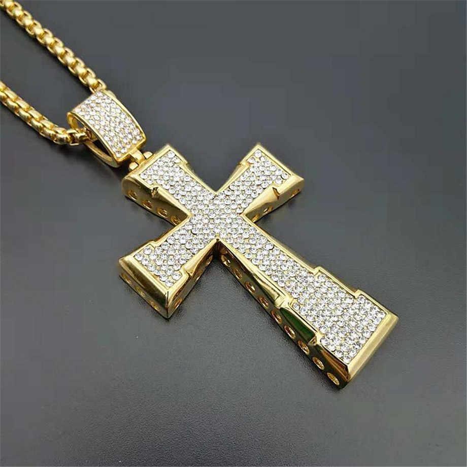 Hip Hop Grande Collana Pendente Croce Maschio di Colore Oro In Acciaio Inox Iced Out Strass Crocifisso Collana Per Gli Uomini Dei Monili
