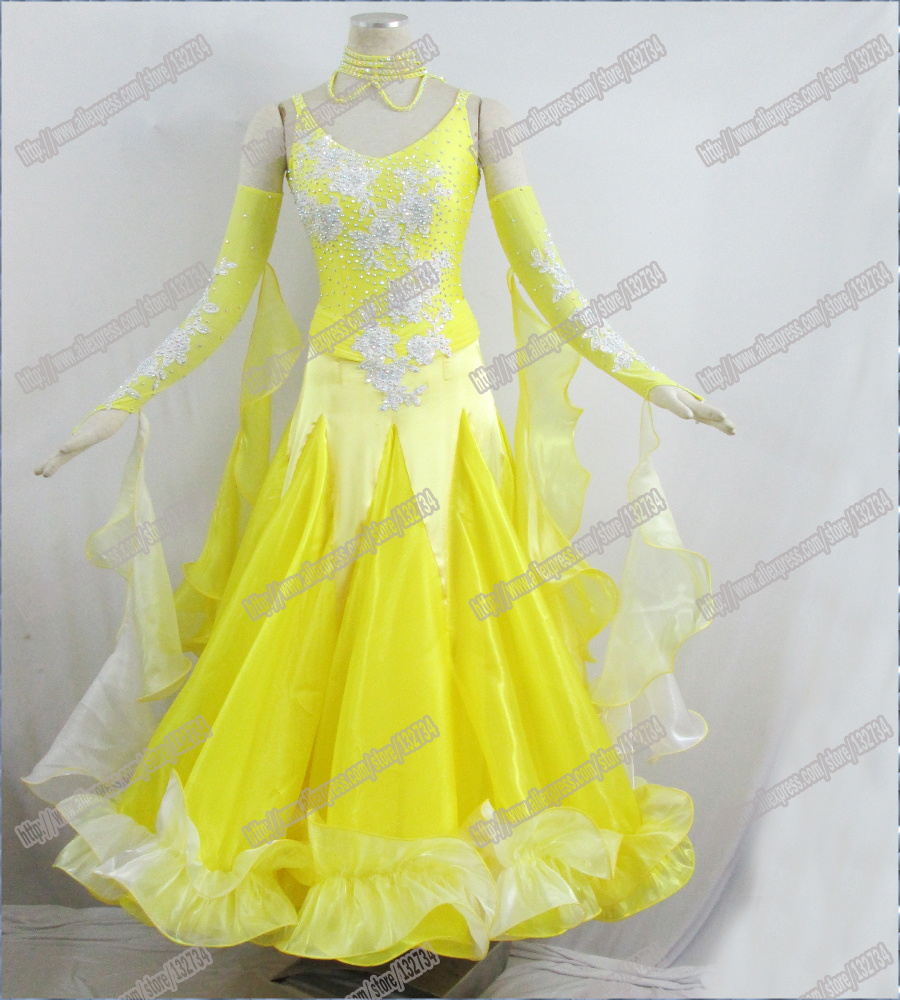 YELLOW New Arrival Children Grey Sequin Kids Ballroom Dance Costume Cocktail Skirt Latin Ballroom Dance Dresses Girls B-0040
