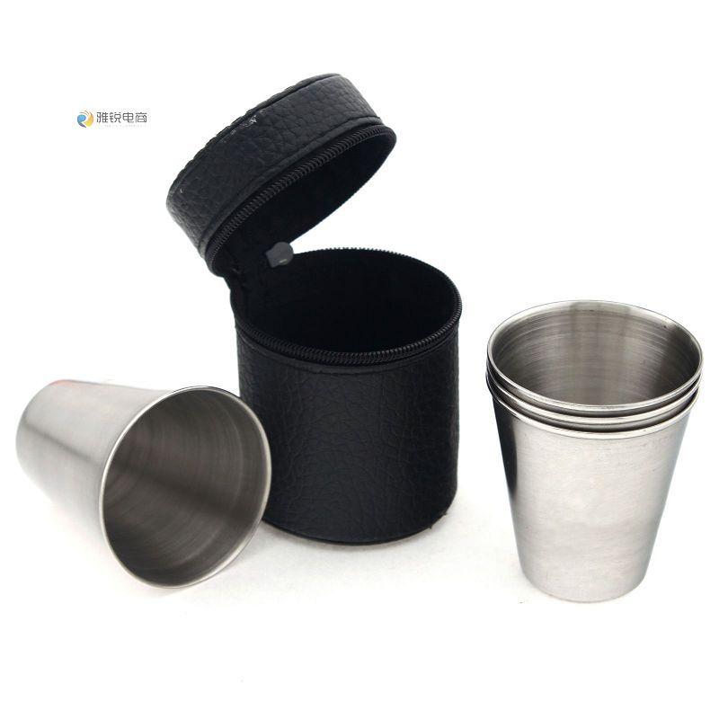 <font><b>Four</b></font> <font><b>sets</b></font> <font><b>of</b></font> minioutdoor travel <font><b>portable</b></font> leather package <font><b>stainless</b></font> <font><b>steel</b></font> <font><b>folding</b></font> cup glass coffee cup