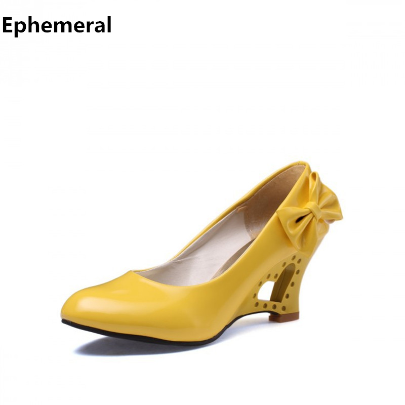 Ladies Big size(4-12) bowtie Patent leather 2.4 wedges round toe high heels single shoes women pumps yellow red white Kvoll brand new hot sale blue red yellow black green glossy patent leather women nude flats ladies shoes av123 plus big size 49 10 13