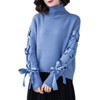 Wool Sweater Female 2019 Spring New Pure Wool High Collar Long Sleeved Pullover Autumn Quality Large Size Knitwear Women Vs439