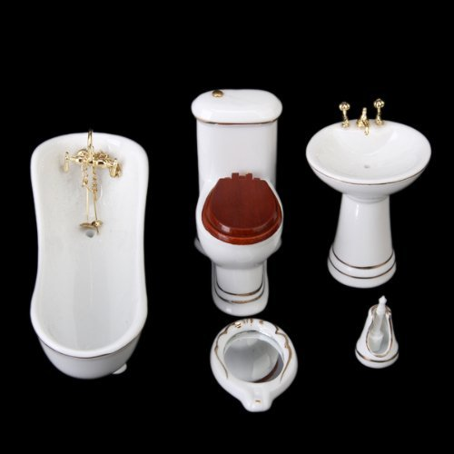 1/12 Miniature Doll House Bathroom Furniture 5 pcs Set