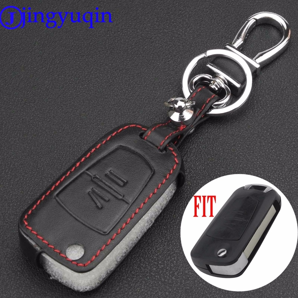 jingyuqin Remote 2 Buttons Flip Folding Leather Car Key Case Cover for Opel Agile Vectra Novo Montana Corsa Holder Case