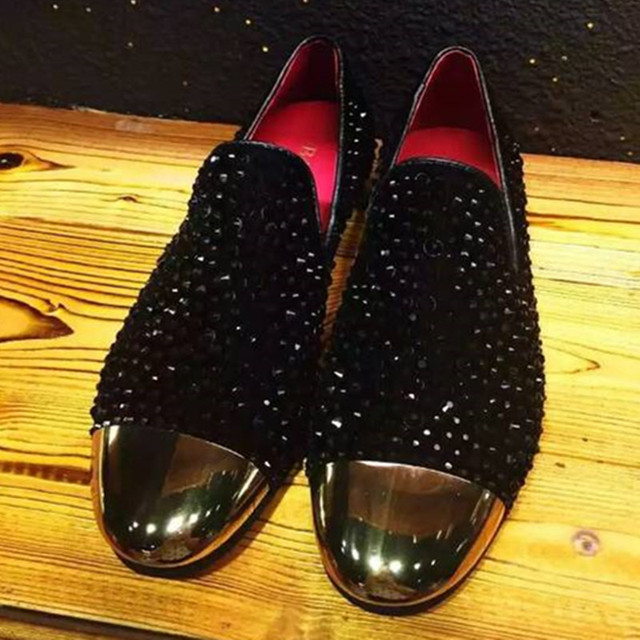 883a95bebcf Rhinestone Men Wedding Shoes Gold Toe Black Loafers Red Leather Lined Velvet  Slippers US Size 6-10 Free Drop Shipping
