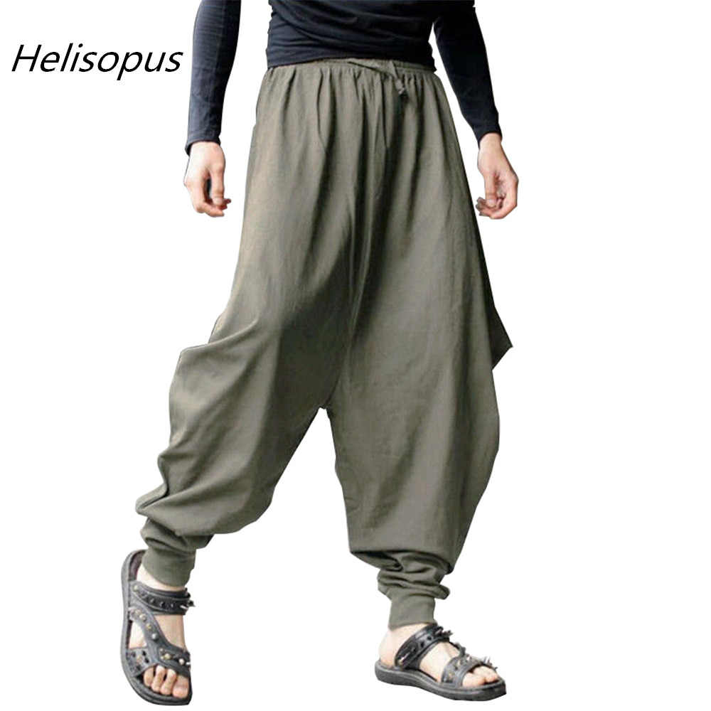 6086720d0d0 Helisopus Men s Low Drop Crotch Loose Harem Baggy Pants Japanese Samurai  Style Cotton Trousers