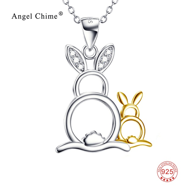 925 sterling silver lovely necklace cute rabbit mother child 925 sterling silver lovely necklace cute rabbit mother child pendants necklaces luxury jewelry mothers day aloadofball Choice Image