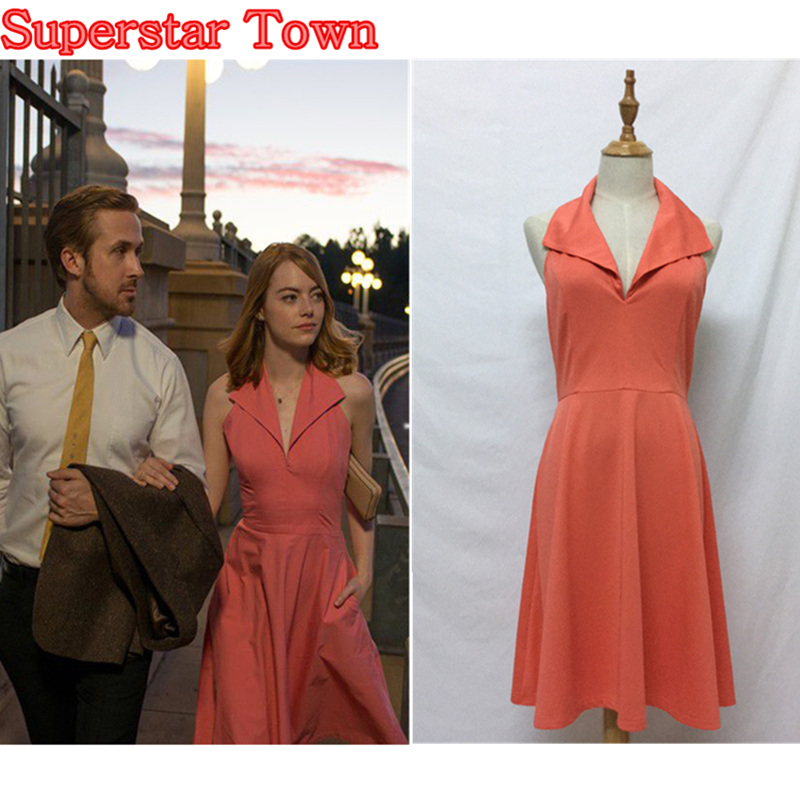la la land mia pink dress cosplay costume emma stone party backless women dress superstar town. Black Bedroom Furniture Sets. Home Design Ideas