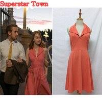 La La land Mia Pink Dress Cosplay Costume Emma Stone Party Backless Women Dress Superstar Town