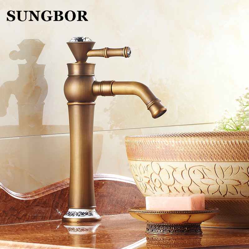 Free shipping Bathroom Faucet Antique bronze finish Brass Basin Sink Faucet with diamond Single Handle water taps AL-7105F free shipping bathroom basin faucet with single handle single hole antique brass oil rubbed bronze