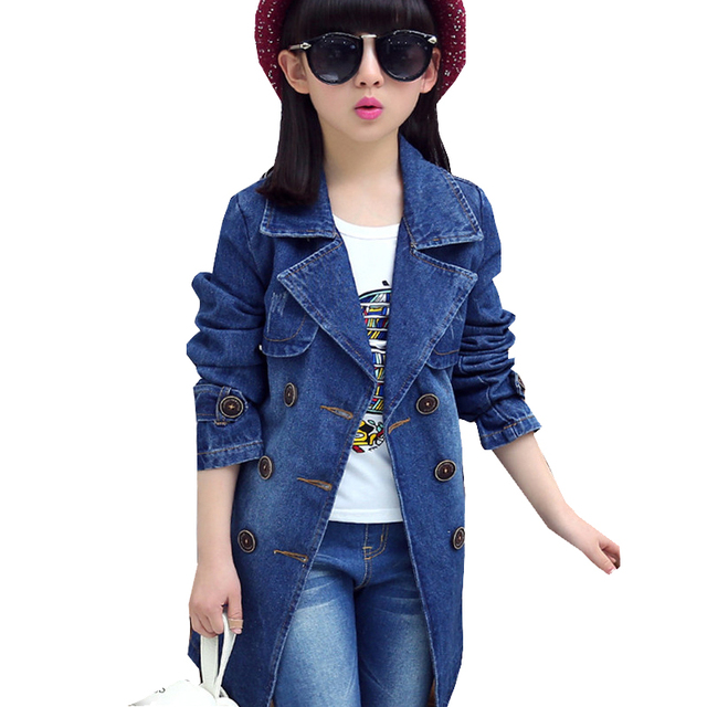 Aliexpress.com : Buy Denim Jackets For Girls Long Coats Sleeved ...
