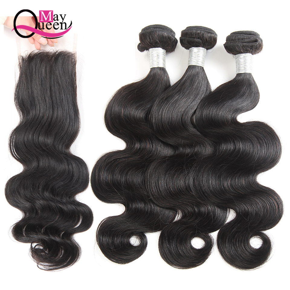 May Queen Remy Hair Body Wave Bundles With Closure 3 Bundles Brazilian Hair Weave Bundles With Closure Human Hair Black Color ...