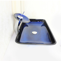 High Quality Modern Rectangle Tempered Glass Bathroom Basin Sink With Waterfall Faucet Water Drain And Mounting