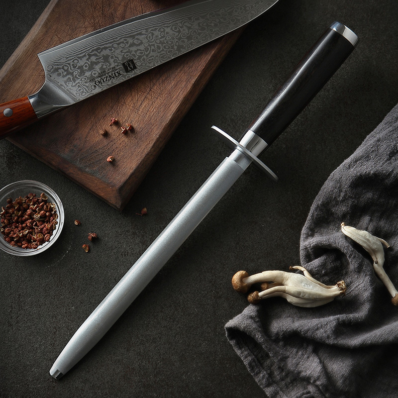 XINZUO New Knife Sharpener Rod Kitchen Accessories High Carbon Stainless Steel Sharpener Stick Knife Grinder Nature