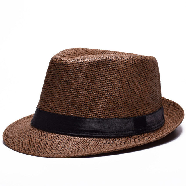 summer men women s eyelet straw jazz fedora hat beach top ribbon cap beige  brown khaki white 5ca9c0a58a9