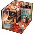 Hoomeda 3D DIY Casa de Boneca Casa De Madeira Modelo de Construção Em Miniatura Feitos À Mão Tempo de Apoio Presente de Aniversário Brinquedos Educativos Presentes de uma Menina
