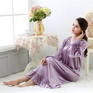 Image 2 - Fdfklak robe de nuit longue en velours pour femme, tenue de nuit en velours, grande taille, printemps automne, nouvelle collection pyjama pour femmes robe de nuit Q1468