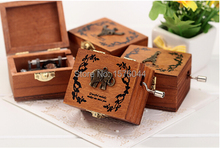 1PC New eight bearing woody hand desk ornaments gifts retro wooden music box 63x52x40mm A1075