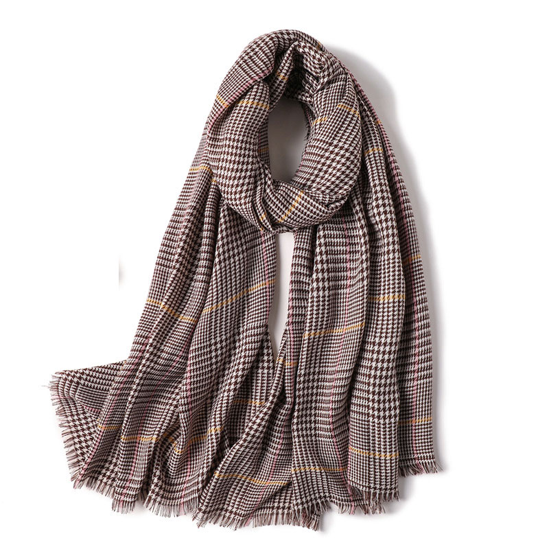 Womens Fashion Cashmere Long Scarf Wraps Wool Winter Houndstooth Shawl Scarves-Black