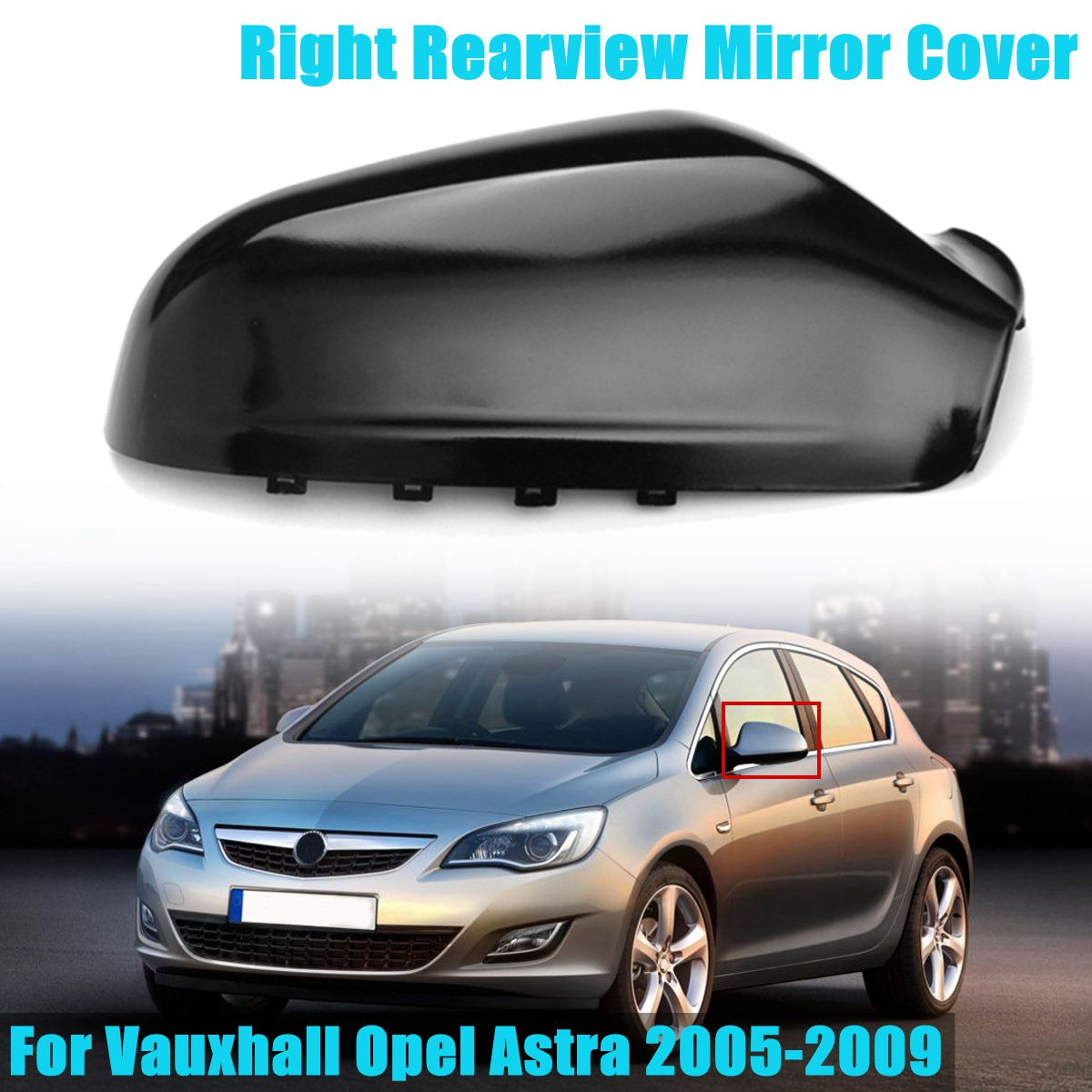 LEFT BLACK SIDE DOOR WING MIRROR COVER For VAUXHALL ASTRA H 2004-2009 CASING