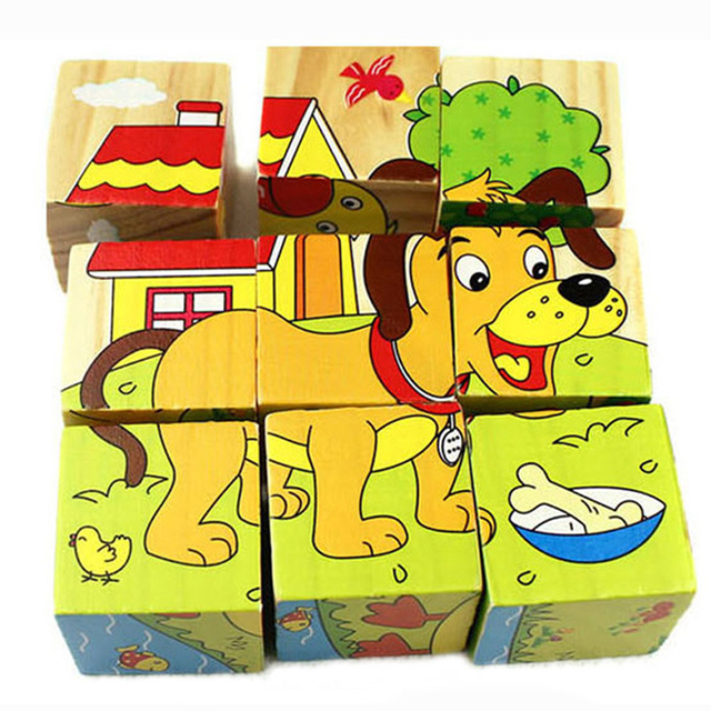 Wooden Cartoon Animal Puzzle Toy for Children 9 piece Six Sides Wisdom 3D Jigsaw Early Education Learning Toys For Kids Game
