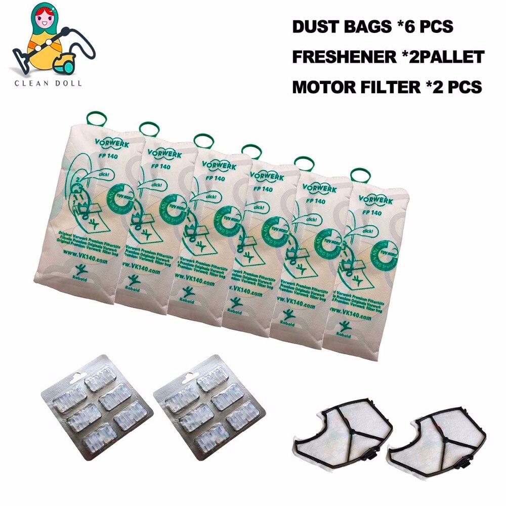 10-PACK CLEAN DOLL 6-PCS Microfibre Dust Bags motor filter HEPA Freshener for VORWERK KOBOLD VK140 VK150 FP140 FP150 6pcs high efficiency dust filter bag replacement for vk140 vk150 vorwerk garbage bags fp140 bo rate kobold vacuum cleaner