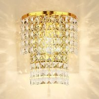 Luxury TWO Tiers Clear Water Drop Crystal Hanging Bedroom Wall Light Free Shipping Modern Stainless Steel
