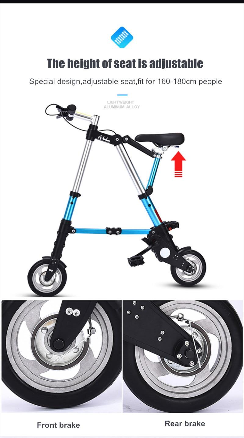 "HTB1Z3idXbj1gK0jSZFuq6ArHpXaU Brand New Ultra Light  8""/10"" Mini Folding Bike Bicycle Portable Outdoor Subway Transit Vehicles Foldable Bicicleta"