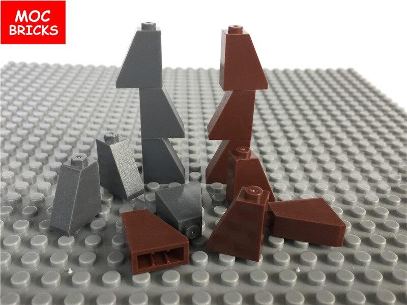 50 шт./лот MOC кирпичи Сделай Сам коричневый и темно-серый наклонные кирпичи 1x2x2 подходит для образовательных строительных блоков 60481 экшн-фигу...
