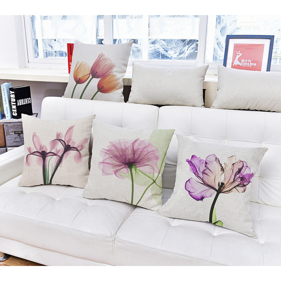 Cushioned Yellow Leather Sofa 3d: 3D Stereo Flower Watercolor Cushion Cover 10 Style Purple