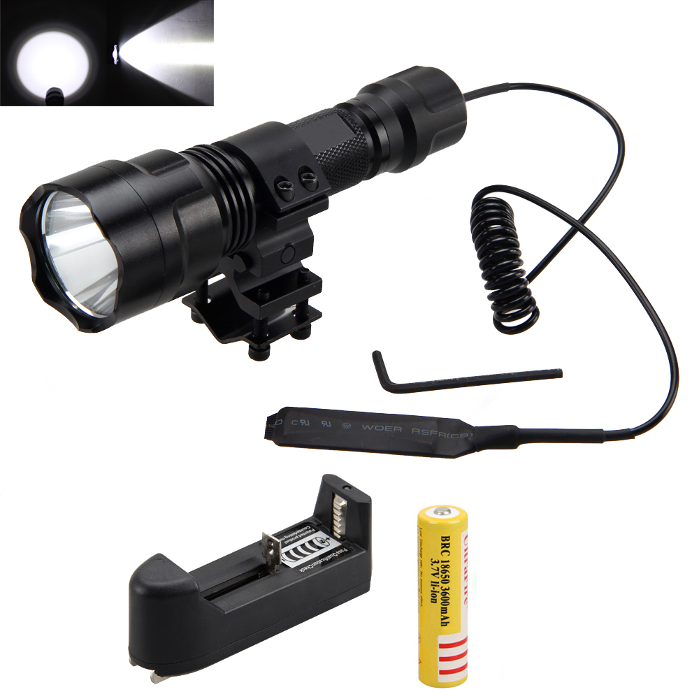 Tactical Flashlight 2500lm XML T6 LED Light Torch with Shotgun/Rifle Mount for Hunting+Pressure Switch+Battery+Charger tactical zoomable 5000lm xml t6 led flashlight torch hunting light lamp pressure switch battery