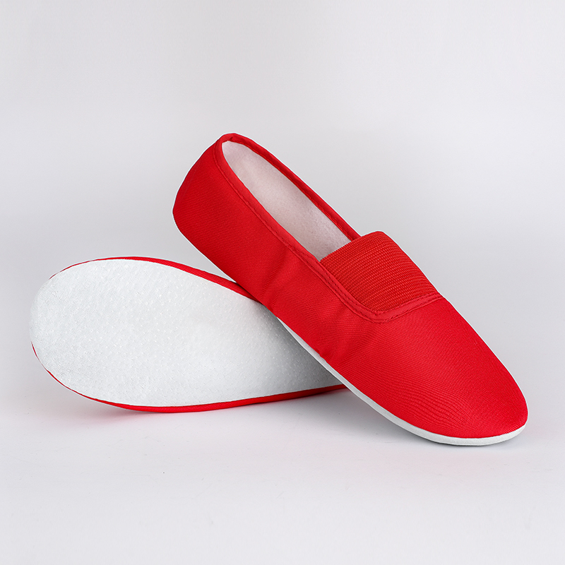 USHINE EU22-45 Upgraded Red Canvas Slippers Teacher Gym Indoor Exercise Fitness Yoga Ballet Dance Shoes Children Girls Woman Man
