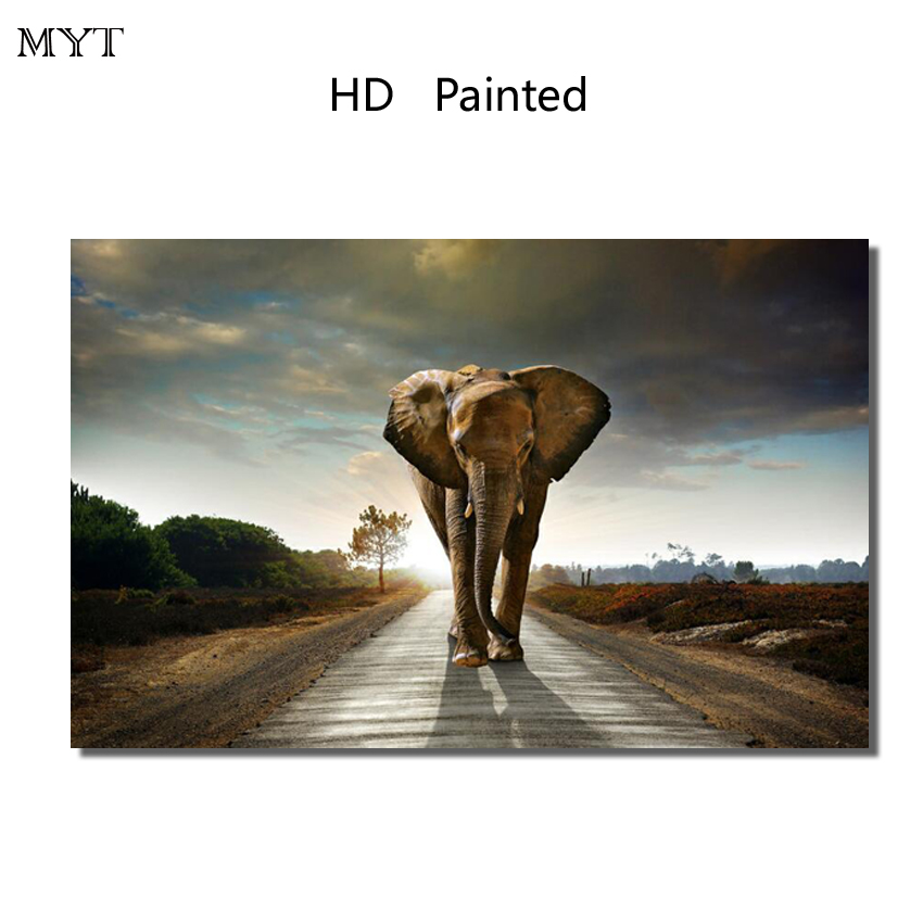 Fashion hot sale HD Printed Painting Home Decor Art Picturer animal Elephant for bed room living room No Framed or Diy Framed