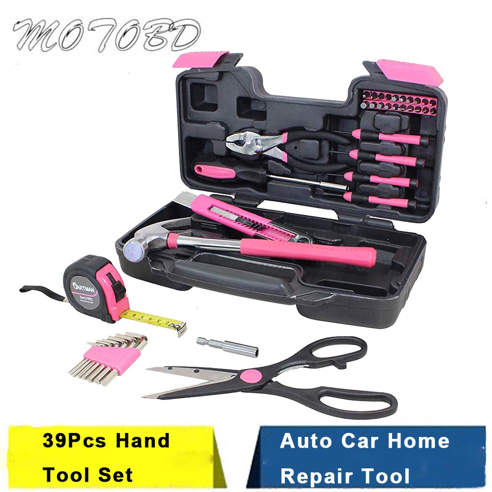 Pink 39Pcs Hand Tool Set General Household Home Repair Tool Kit with Plastic Toolbox Storage Case