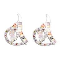 Handsome Multi Color MultiGem 2 2mm Semi Precious Silver Cool For Womens Stud Earrings ED0452