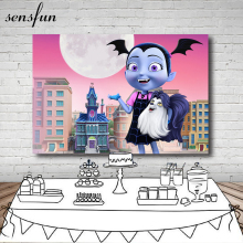 Sensfun Buildings Round Moon  Building Moon Junior Vampirina Backdrop Girls Birthday Party Backgrounds 7x5FT Vinyl