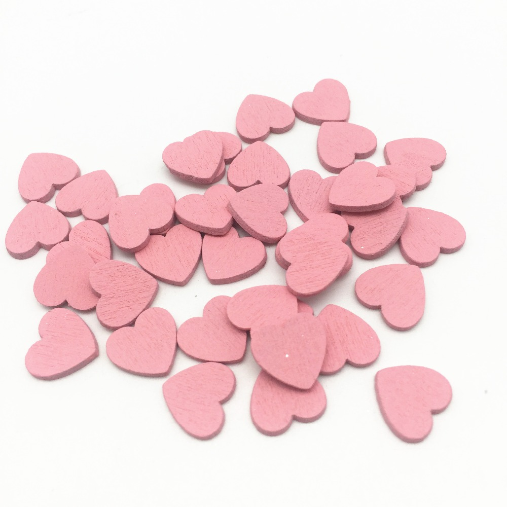 100 шт. 11x12 мм Розовые Деревянные кусочки сердца, кусочки конфетти, ремесла для свадебной вечеринки, украшения для стола