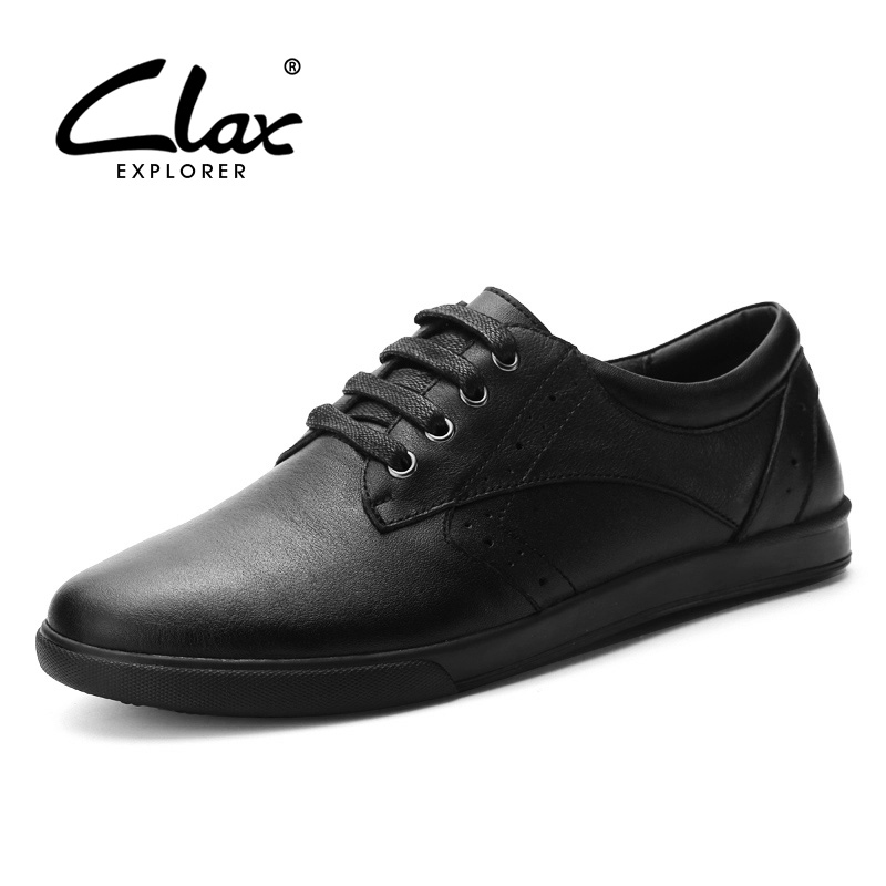 CLAX Men Leather Shoe Spring Autumn Casual  Shoes Male Genuine Leather Elegant Leisure Footwear Fashion Flat Walking Shoe Soft bimuduiyu new england style men s carrefour flat casual shoes minimalist breathable soft leisure men lazy drivng walking loafer