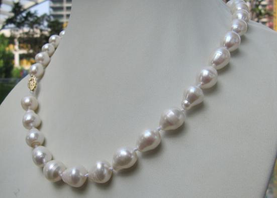 Belle 11-13mm naturel mer du sud baroque blanc perle collier choker 18 poucesBelle 11-13mm naturel mer du sud baroque blanc perle collier choker 18 pouces