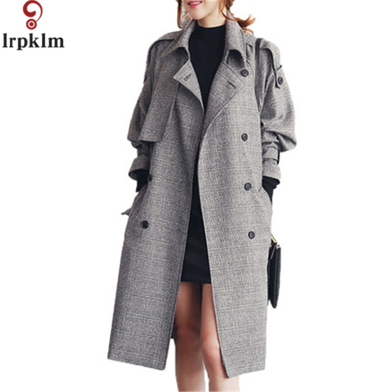 2017 New Fashion   Trench   Coat For Women Slim Long Style Double Breasted Full Sleeve High Quality Autumn   Trench   Coat Women LZ222