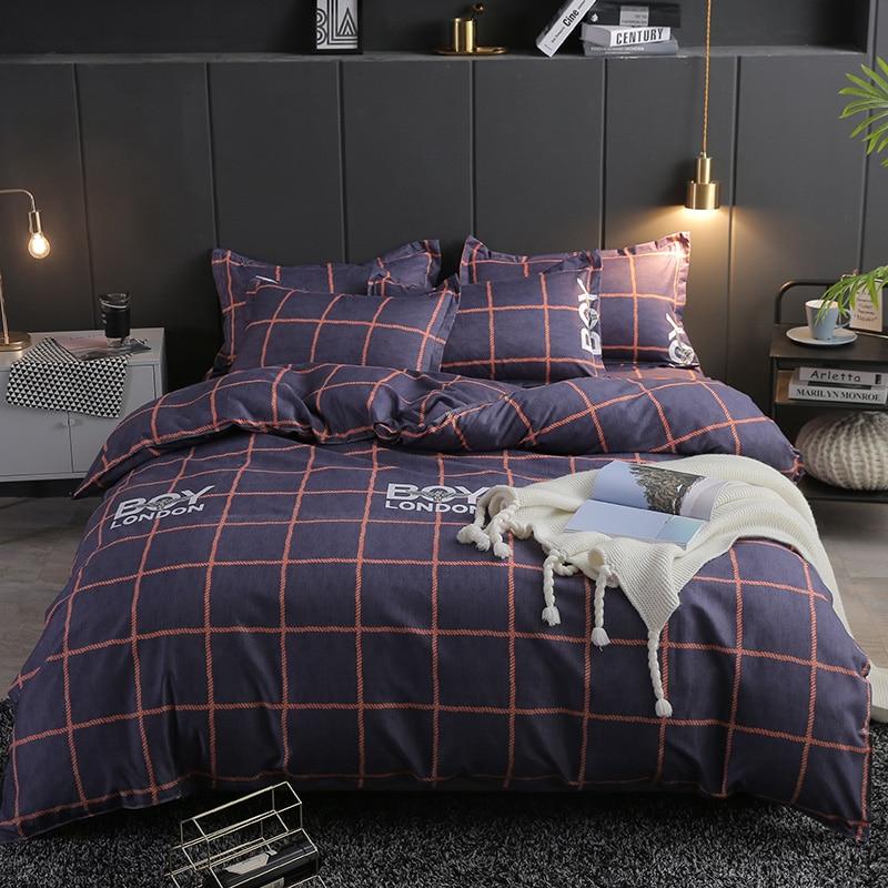Bonenjoy Single Bed Linen Set Queen Size Plaid Bedding Set