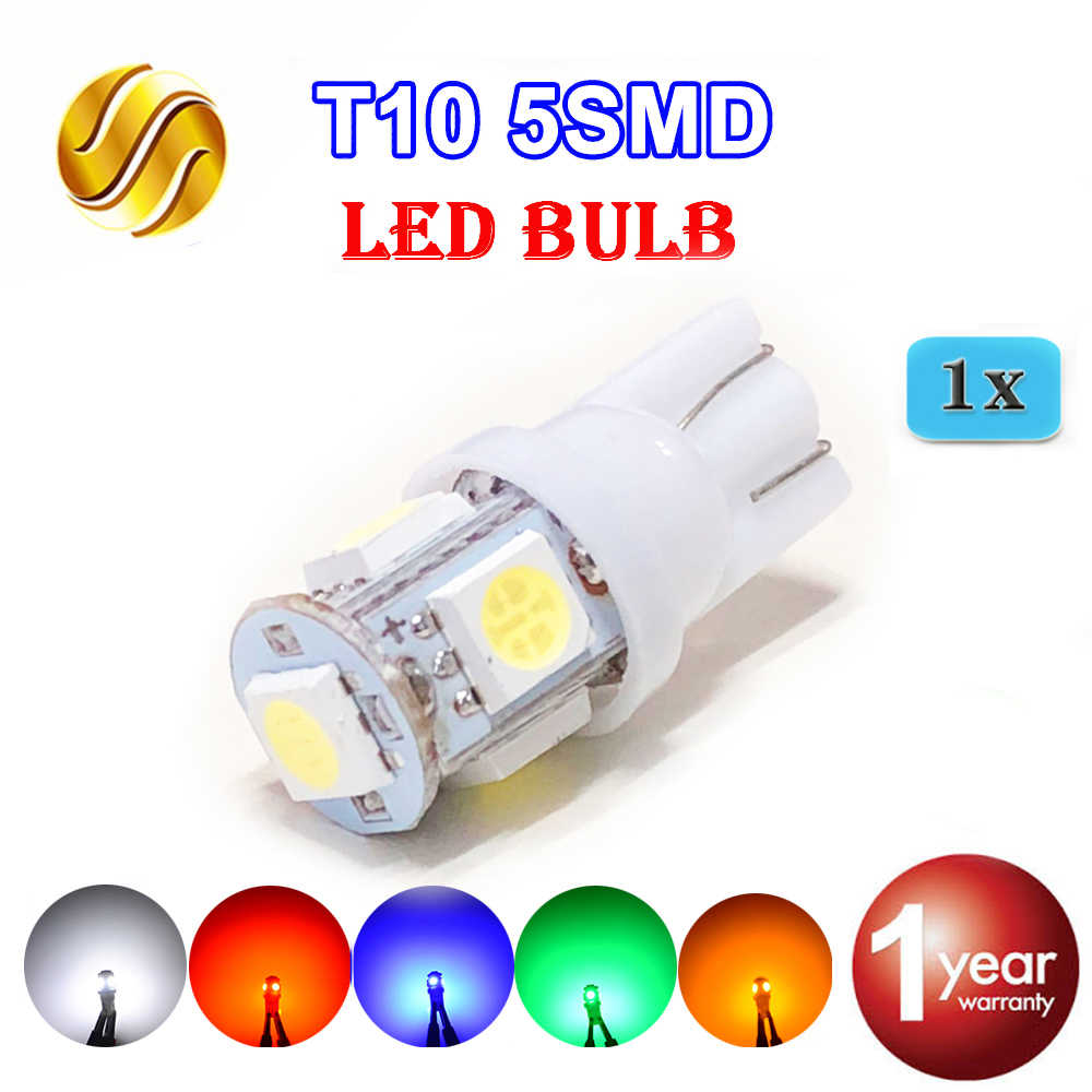 Flytop 1 X T10 5SMD LED Bulb 168 194 W5W Car Lights 5050 SMD Auto Lamp 12V XENON 5 Colors White/Blue/Red/Yellow/Green