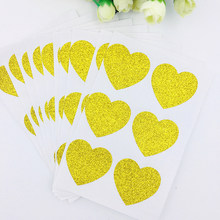 120 piezas oro brillo invitación sello corazón estrella brillo pegatinas 35mm oro brillante de La etiqueta engomada para embalaje de regalo DIY(China)